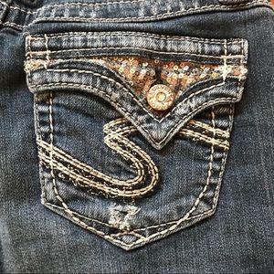 Silver Dawson Bootcut Flap Pockets Distressed W26